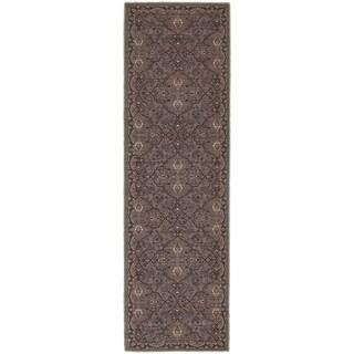 Tommy Bahama Vintage Brown/ Blue Wool Area Rug (2'7x9'4)