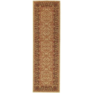 """Tommy Bahama Vintage Beige/ Red Wool Area Rug (2'7x9'4) - 2'7"""" X 9'4"""""""