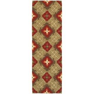 Tommy Bahama Atrium Brown/Red Polypropylene Area Rug - 2'6 x 8'