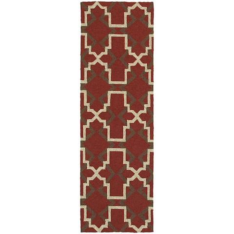 "Tommy Bahama Atrium Red/Brown Area Rug (2'6 x 8') - 2'6"" x 8' Runner"