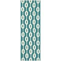 Tommy Bahama Atrium Blue/Ivory Area Rug (2'6 x 8') - 2'6 x 8'