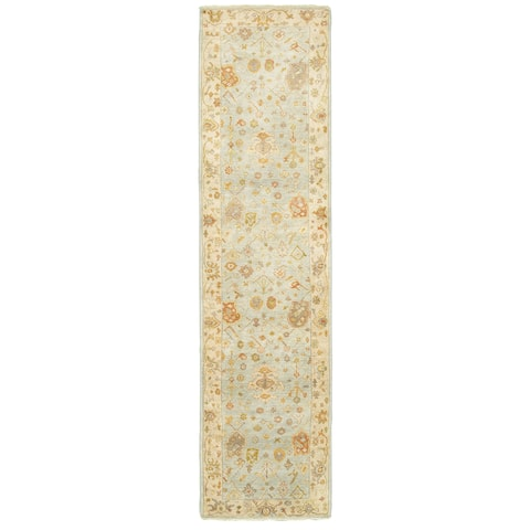 "Tommy Bahama Palace Blue/Sand Wool Area Rug (2'6 x 10') - 2'6"" x 10' Runner"