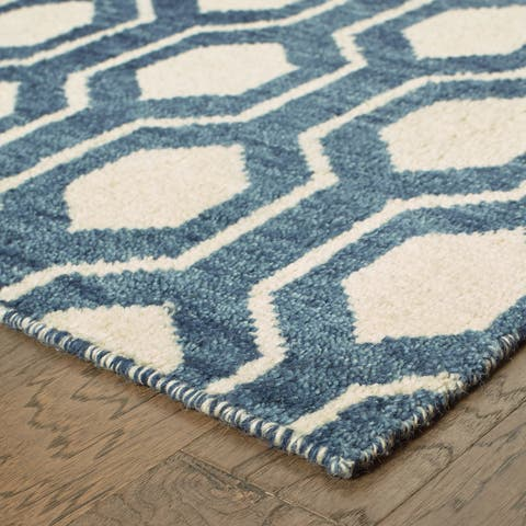 "Tommy Bahama Maddox Navy/ Ivory Wool Area Rug (2'6x10') - 2'6"" x 10' Runner"