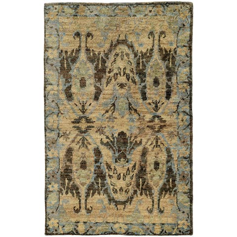 "Tommy Bahama Ansley Blue/Grey Jute Area Rug (2'6 x 10') - 2'6"" x 10' Runner"
