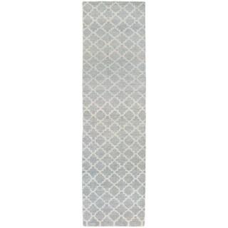 """Tommy Bahama Maddox Blue/Beige Wool Area Rug (2'6 x 10') - 2'6"""" x 10'"""