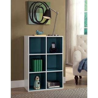 Organize it All Two-Toned 6 Cube Organizer (with back panels); White + Teal