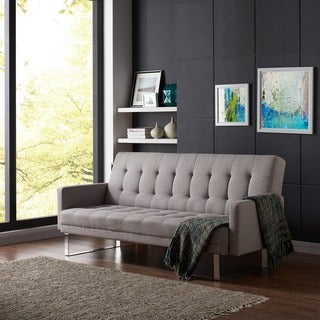 Handy Living Springfield Dove Grey Linen Click Clack Futon Sofa Bed
