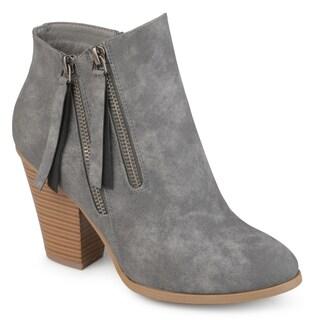Journee Collection Women's 'Vally' Double Zipper Stacked Wood Heel Booties (More options available)