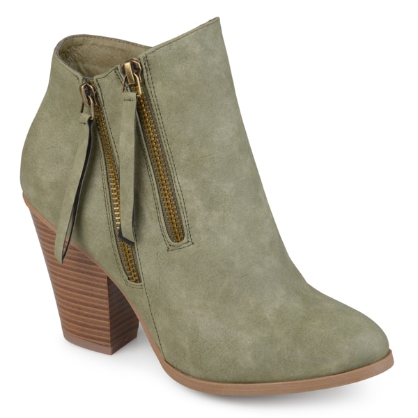 Journee Collection Women's 'Vally' Double Zipper Stacked Heel Booties. Opens flyout.