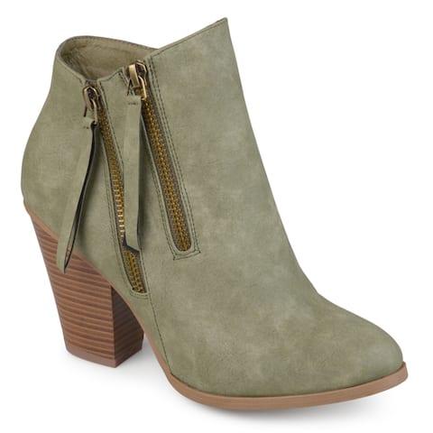 Journee Collection Women's 'Vally' Double Zipper Stacked Wood Heel Booties