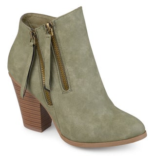 Journee Collection Women's 'Vally' Double Zipper Stacked Wood Heel Booties