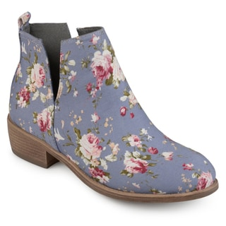 Journee Collection Women's 'Roone' Floral Round Toe Side Slit Booties