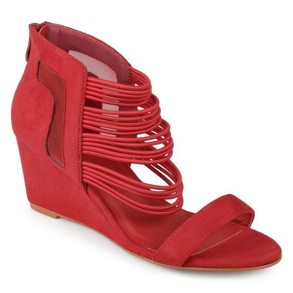 Journee Collection Multi-Strap ... Open Toe Women's Wedge Heels eU21Qz