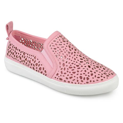 Journee Collection Women's 'Kenzo' Laser-cut Pull-on Sneakers