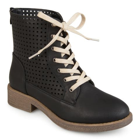Journee Collection Women's 'Essex' Lace-up Laser-cut Boots