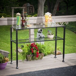 Harper Blvd Clairmont Metal/Glass Outdoor Console Table