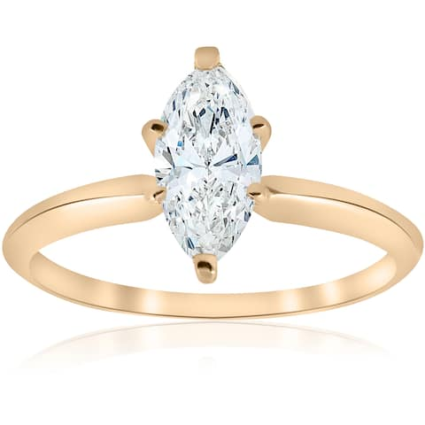 14k Yellow Gold 1ct TDW Marquise White Diamond Clarity Enhanced Engagement Ring