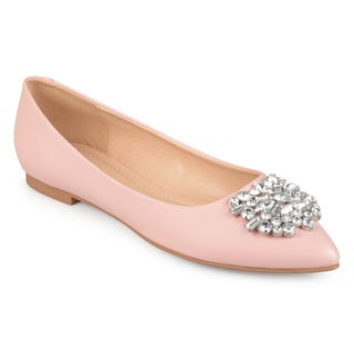 Link to Journee Collection Women's 'Renzo' Pointed Toe Jewel Faux Leather Flats Similar Items in Women's Shoes