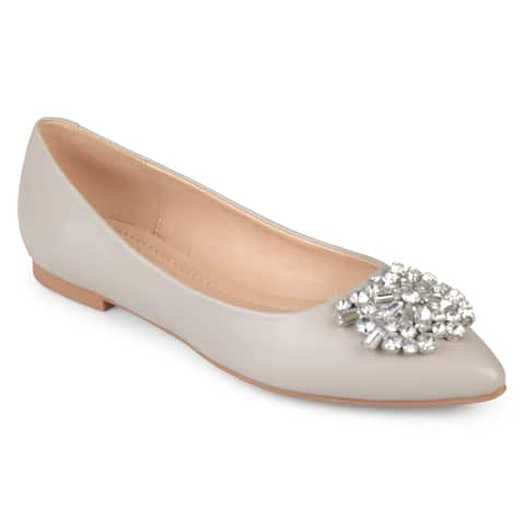 940269bf5a Journee Collection Women's 'Renzo' Pointed Toe Jewel Faux Leather Flats.  $73.99. $33.50 OFF
