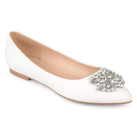 Journee Collection Women's 'Renzo' Pointed Toe Jewel Faux Leather Flats