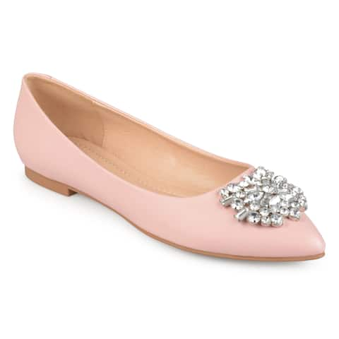 66628acfb9b Journee Collection Women s  Renzo  Pointed Toe Jewel Faux Leather Flats