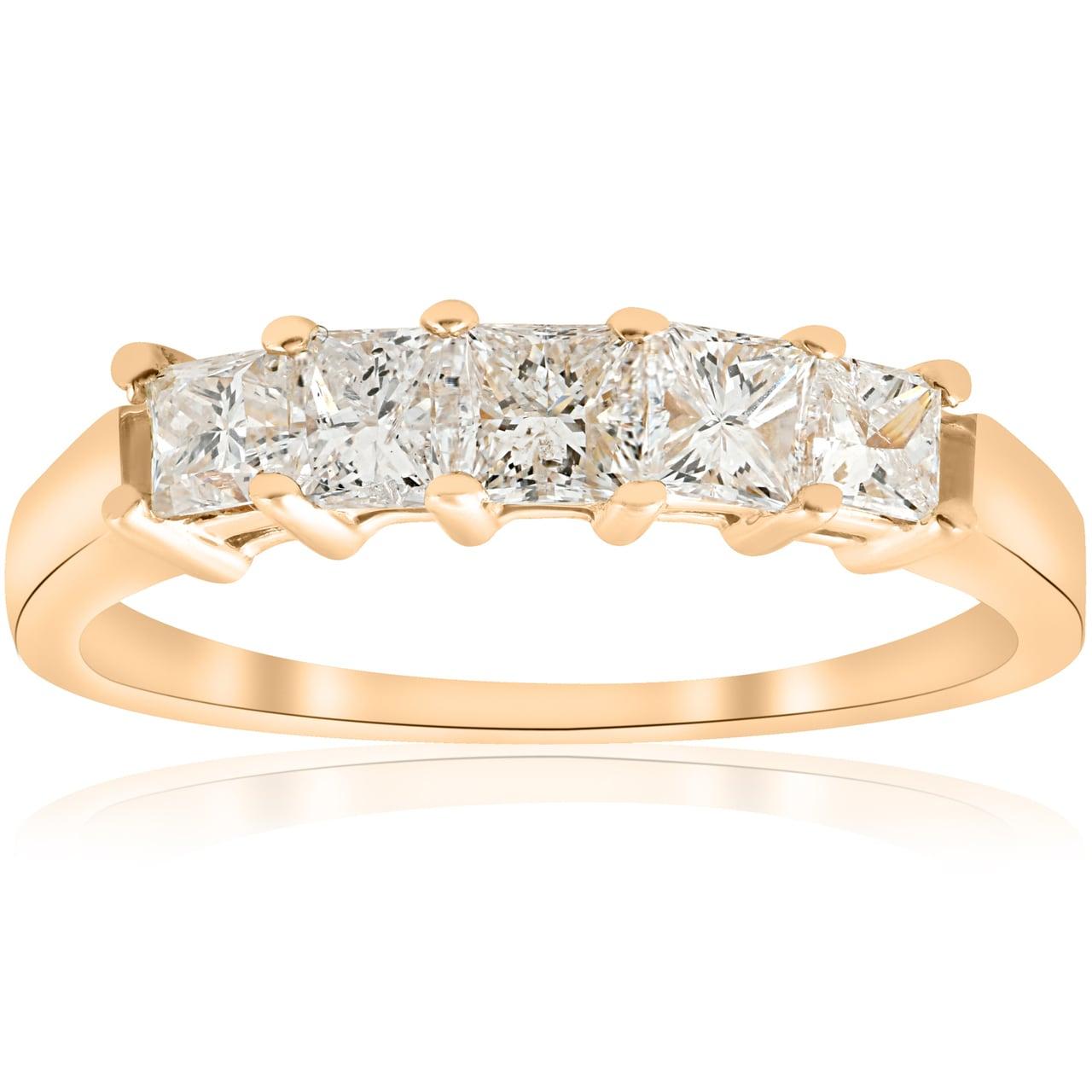2 Ct Princess Diamond Engagement Wedding Anniversary Ring 14k White Gold 5-Stone