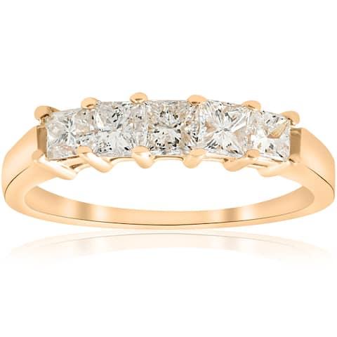 14k Yellow Gold 1 ct TDW Five Stone Princess Cut Diamond Wedding Anniversary Ring (I-J,I1-I2) - White