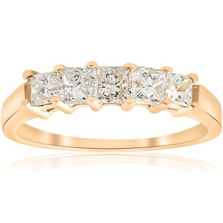 14k Yellow Gold 1 ct TDW Five Stone Princess Cut Diamond Wedding Anniversary Ring (I-J,I1-I2)