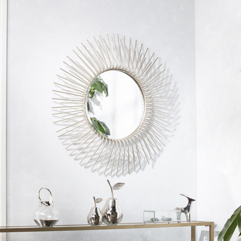 Silver Orchid Nansen Round Oversized Sunburst Wall Mirror Champagne