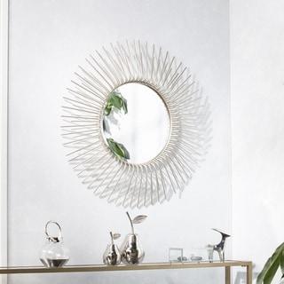Silver Orchid Nansen Round Oversized Sunburst Wall Mirror - Champagne