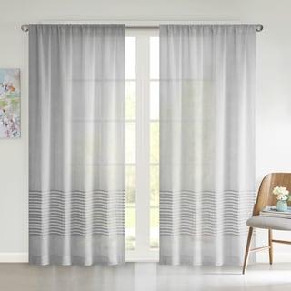 Urban Habitat Rae Dobby Stripe Sheer Curtain Panel
