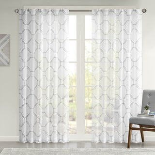 Urban Habitat Austin Embroidered Faux Linen Sheer Curtain Panel
