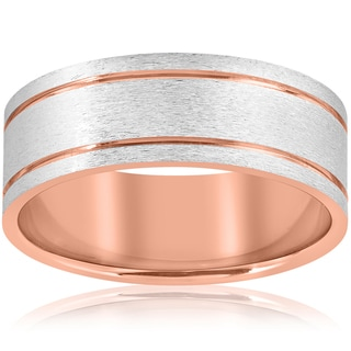 Link to 14k Rose Gold 8MM Two Tone Flat Brushed Comfort Fit Mens Wedding Band Similar Items in Rings