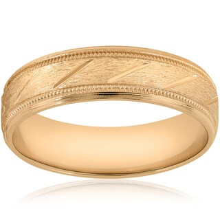 10K Yellow Gold 6mm Brushed Hand Carved Mens Wedding Band