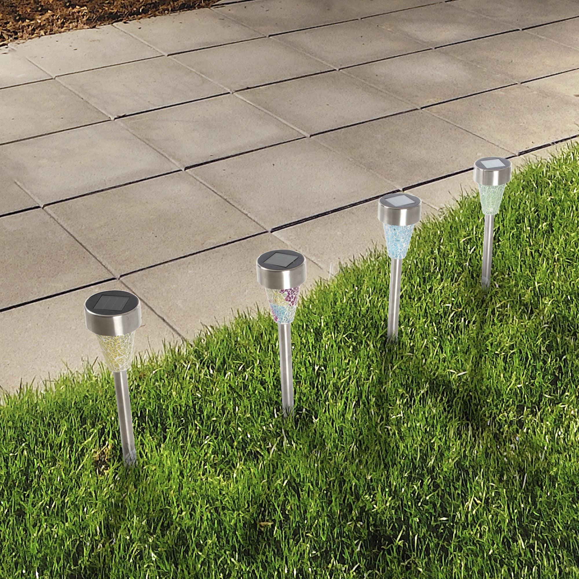 Yard Decor, Solar Outdoor LED Ice Cube Rock Lights, Batte...
