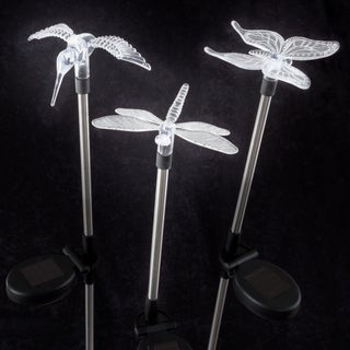 Yard Décor, Solar Outdoor LED Stake Butterfly, Hummingbird & Dragonfly Light Battery Operated by Pure Garden