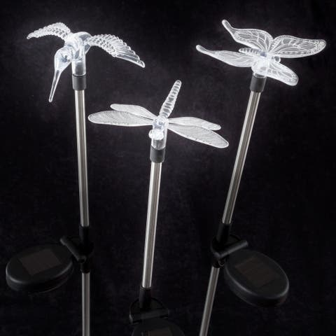 Yard Décor, Solar Outdoor 3pc LED Stake Butterfly, Hummingbird & Dragonfly Light Battery Operated Ornament by Pure Garden