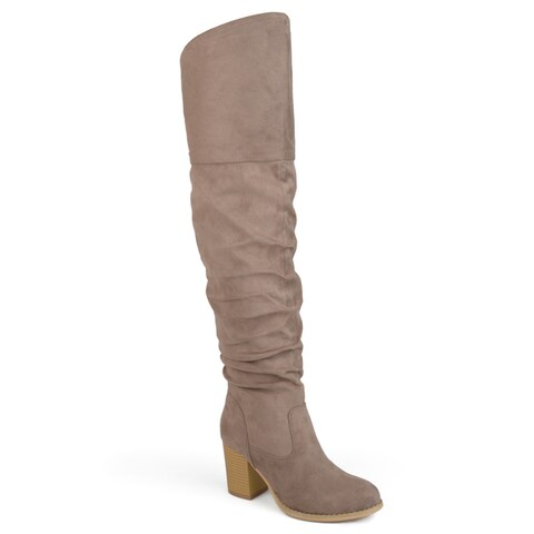 Journee Collection Women's 'Kaison' Regular Wide Calf and Extra Wide Calf Over-the-knee Ruched Stacked Heel Boots