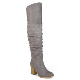 Journee Collection Women's 'Kaison' Regular Wide Calf and Extra Wide Calf Over-the-knee Ruched Stacked Heel Boots (More options available)