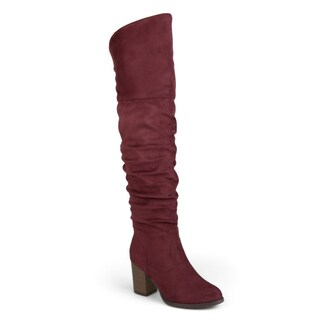 Journee Collection 'Kaison' Women's Faux Suede Over-the-knee Ruched Stacked Heel Boots