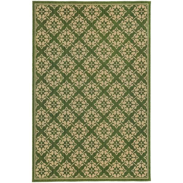 Style Haven Floral Trellis Green Indoor/Outdoor Area Rug (7'10 x 10'10) - 7'10 x 10'10
