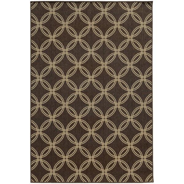 "Style Haven Interlocking Circles Brown Indoor/Outdoor Area Rug (7'10 x 10'10) - 7'10"" x 10'10"""