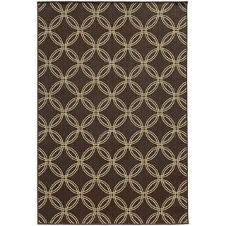 Style Haven Interlocking Circles Brown Indoor/Outdoor Area Rug (7'10 x 10'10)