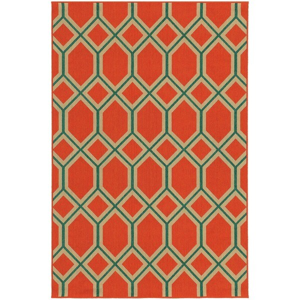 "Geometric Lattice Indoor/Outdoor Area Rug (7'10 x 10'10) - 7'10"" x 10'10"""
