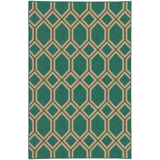 Style Haven Geometric Lattice Teal Indoor/Outdoor Area Rug (7'10 x 10'10)