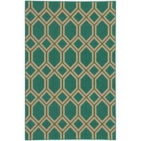 Style Haven Geometric Lattice Teal Indoor/Outdoor Area Rug (7'10 x 10'10) - 7'10 x 10'10