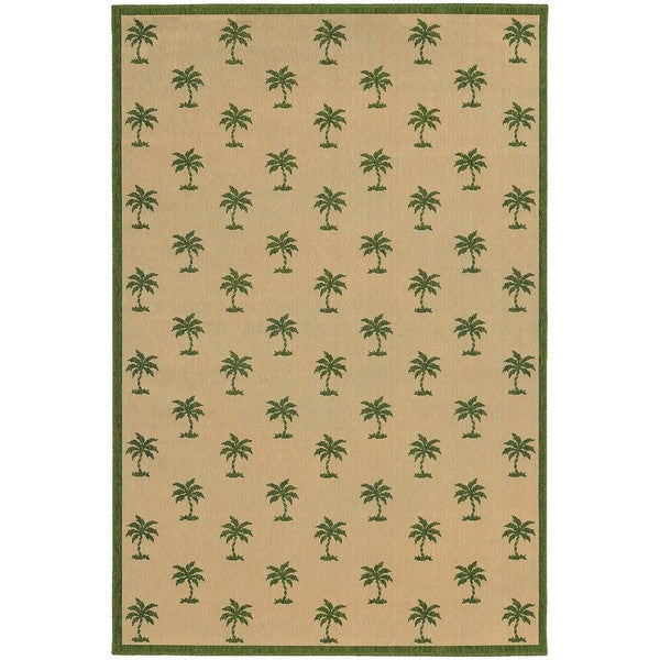 Style Haven Floating Palms Beige Indoor/Outdoor Area Rug - 7'10 x 10'10