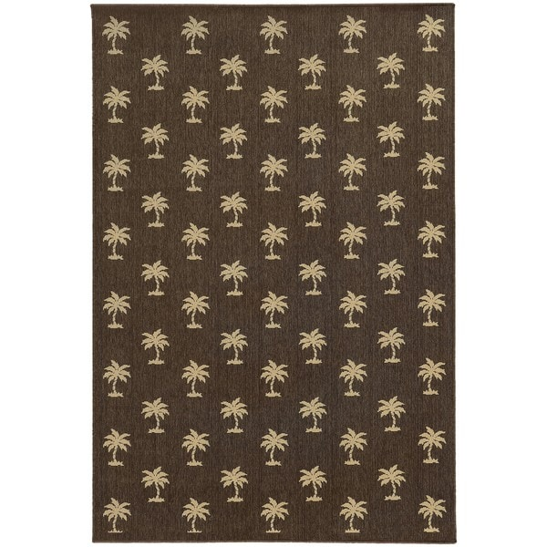 Style Haven Floating Palms Brown Indoor/Outdoor Area Rug - 7'10 x 10'10
