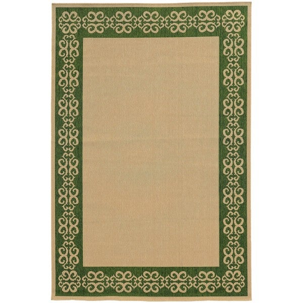Scroll-work Border Indoor/Outdoor Area Rug (7'10 x 10'10) - 7'10 x 10'10