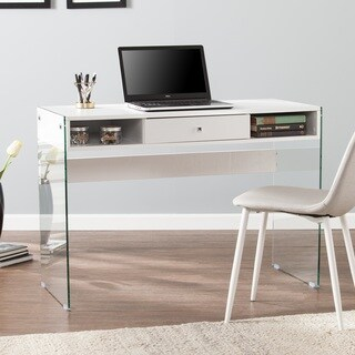 Harper Blvd Palermo Contemporary Writing Desk w/ Glass Legs - White